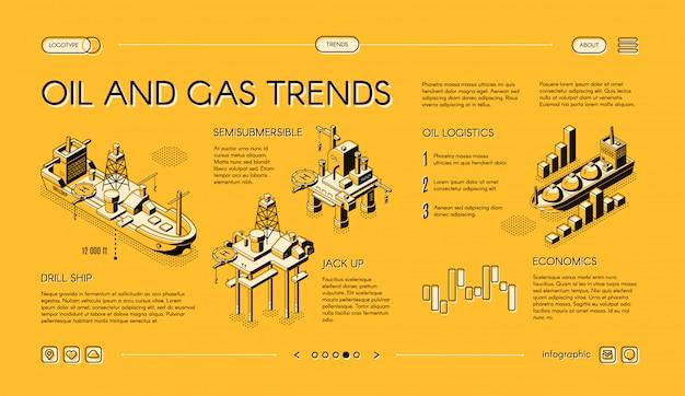 Banner de web isométrica de tendencias de la industria de petróleo y gas