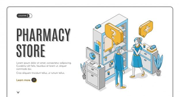 Banner de web isométrica de tienda de farmacia