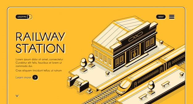 Banner de web isométrica de transporte ferroviario
