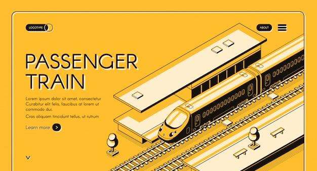 Banner de web isométrica de tren de pasajeros. tren expreso de alta velocidad en la estación de ferrocarril.