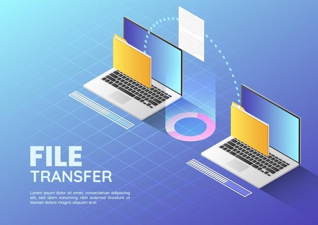 Banner de web isométrico 3d dos archivos de transferencia de portátil y carpeta de organización. concepto de gestión de documentos y uso compartido de archivos página de llanding.