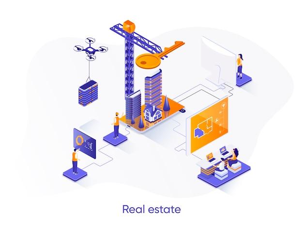 Banner de web isométrico de bienes raíces.