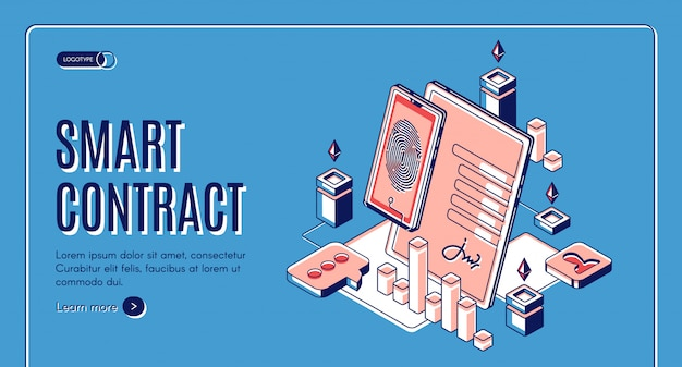 Banner web isométrico de contrato inteligente