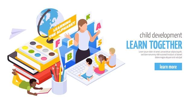 Banner de web isométrico de cuidado y desarrollo infantil en el hogar.