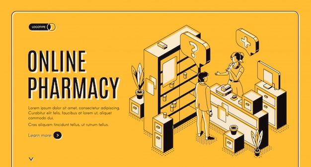 Banner web isométrico de farmacia en línea