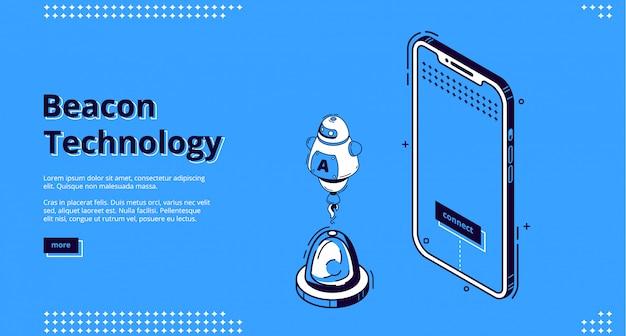 Banner web isométrico de tecnología inalámbrica beacon