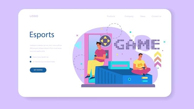 Banner web de jugador profesional o página de destino. persona juega