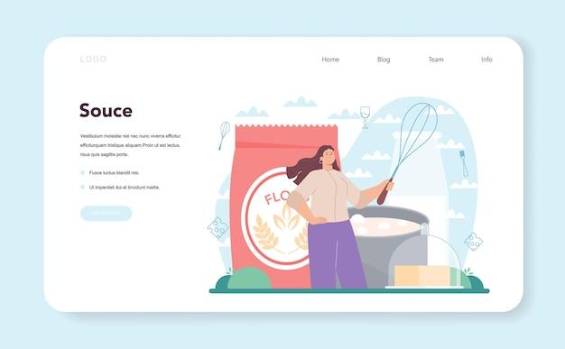 Banner de web de lasaña sabroso o página de destino. deliciosa cocina italiana en el plato. personas que cocinan queso y carne para la cena o el almuerzo. ilustración de vector plano aislado