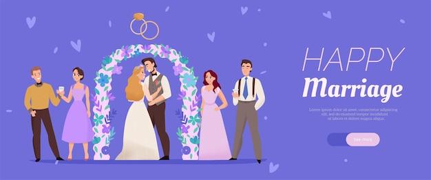 Banner de web lila horizontal de matrimonio feliz con arco de flores de ceremonia de boda besando a invitados de pareja
