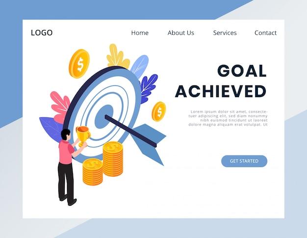 Banner web de logro de objetivo isométrico