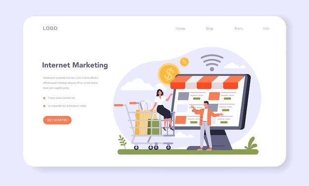 Banner web de marketing minorista o página de destino. promoción de empresas, generación de ventas. estrategia de emprendimiento para el desarrollo empresarial. ilustración de vector plano aislado