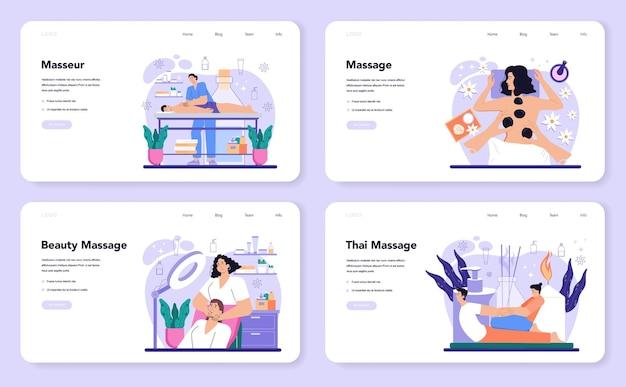 Banner web de masajista o página de destino establece procedimiento de spa en belleza