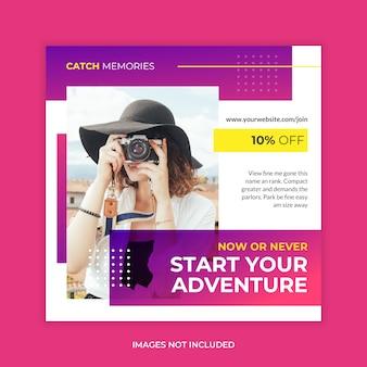 Banner de web de medios sociales de viaje