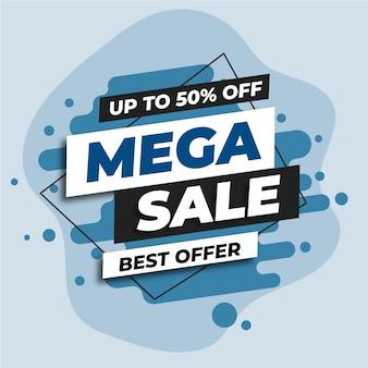 Banner web de mega venta azul