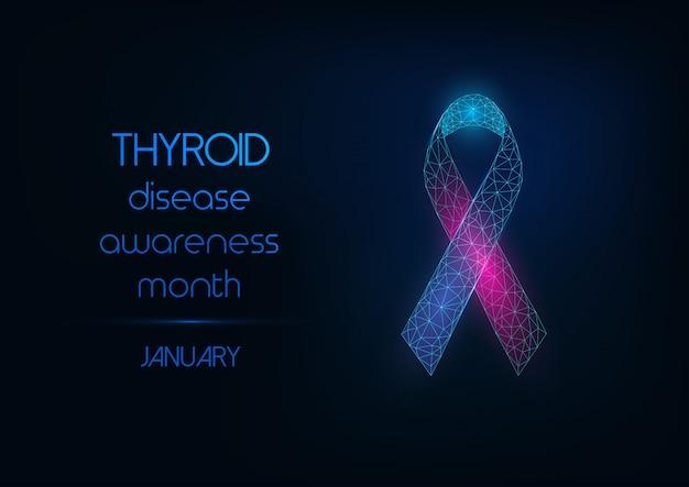 Banner de web de mes de conciencia de enfermedad de tiroides con arco de cinta rosa y azul poligonal baja brillante.