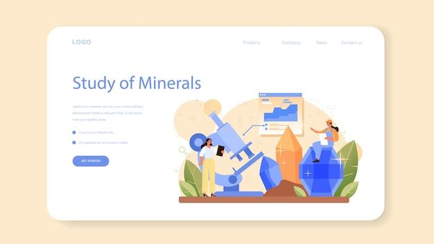 Banner web mineralogista o página de destino. científico profesional que estudia la piedra natural y la estructura mineral. extracción de piedras para joyería y reacción química. ilustración de vector aislado
