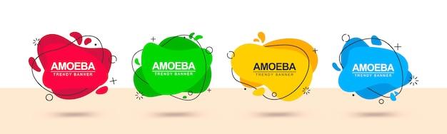 Banner web moderno de formas de resúmenes rojos, verdes, amarillos y azules