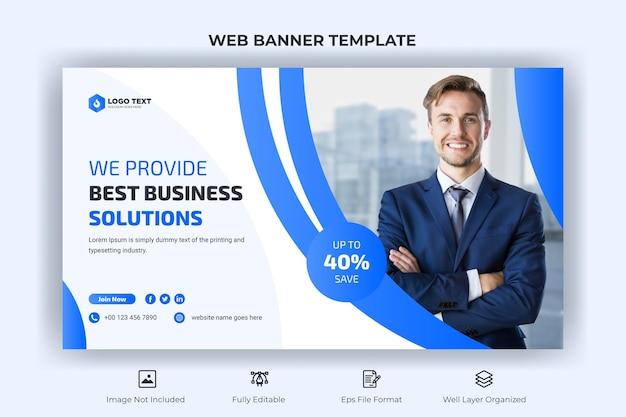 Banner web de negocios creativos y plantilla de miniatura de youtube