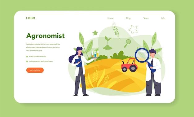 Banner web o página de destino de argonomist. científico realizando investigaciones en agricultura.