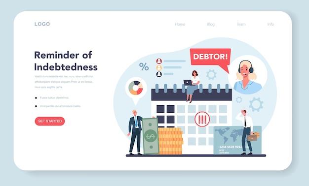 Banner web o página de destino del cobrador de deudas