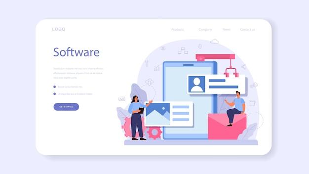 Banner web o página de destino del desarrollador de software. idea de programación y codificación, desarrollo de sistemas. tecnología digital. empresa de desarrollo de software escribiendo código. yo