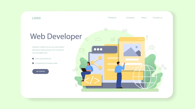 Banner web o página de destino para desarrolladores frontend