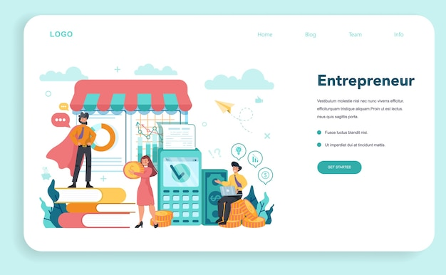 Banner web o página de destino para emprendedores