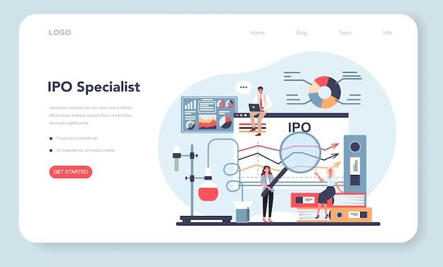 Banner web o página de destino del especialista en ofertas públicas iniciales.