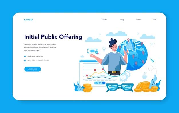 Banner web o página de destino del especialista en ofertas públicas iniciales