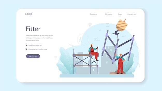 Banner web o página de destino del instalador o instalador. constructor industrial en el sitio de construcción. trabajadores profesionales que construyen casa con herramientas y materiales.