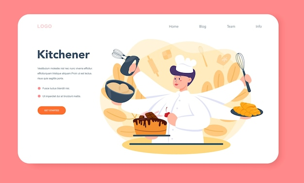 Banner web o página de destino de pastelería