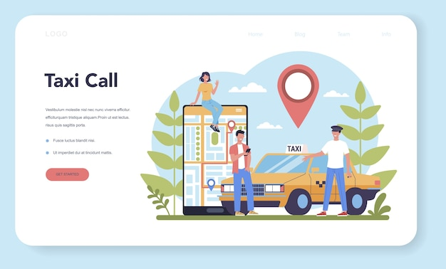 Banner web o página de destino del servicio de taxi