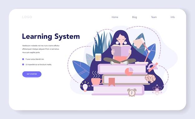 Banner web o página de destino del sistema de aprendizaje, idea de estudio de forma remota