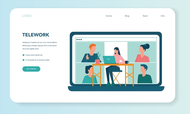 Banner web o página de destino de trabajo remoto