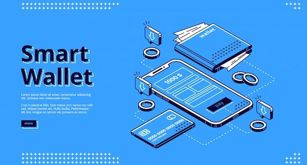 Banner web de página de aterrizaje isométrica de billetera inteligente