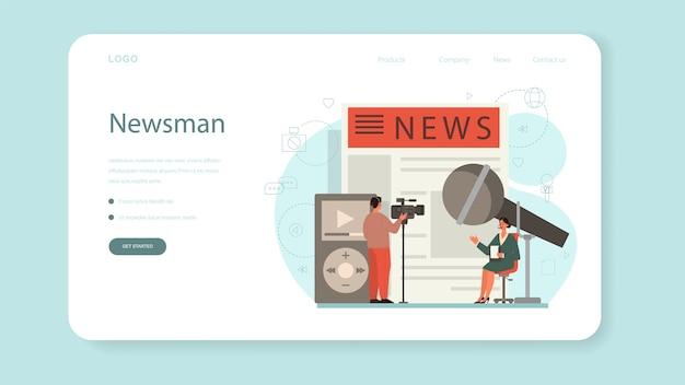 Banner de web de periodista o página de destino. reportero de televisión con