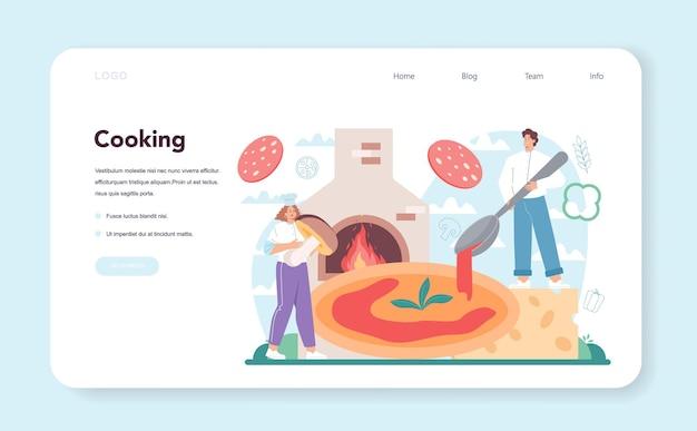 Banner web de pizzería o chef de página de destino cocinando deliciosa pizza deliciosa