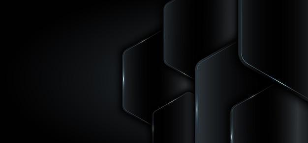 Banner web plantilla geométrica negro metálico con concepto de tecnología de luz azul.