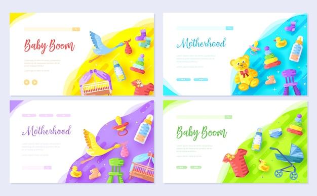Banner de web de plantilla de infografía infantil, encabezado de interfaz de usuario, ingresar al sitio. fondo del concepto de invitación.
