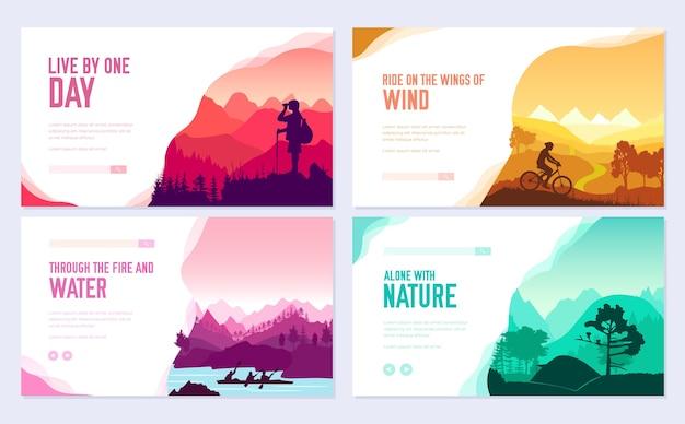 Banner de web de plantilla de turismo en la naturaleza, encabezado de interfaz de usuario, ingresar al sitio. control deslizante moderno de ilustración de diseño