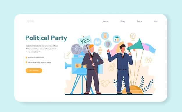 Banner web político o página de destino