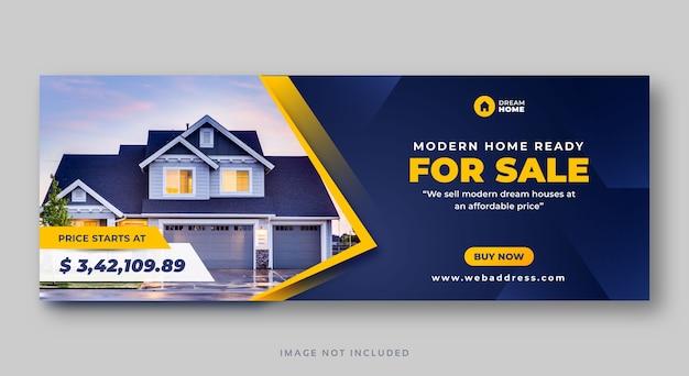 Banner de web de portada de redes sociales de venta de casas de bienes raíces