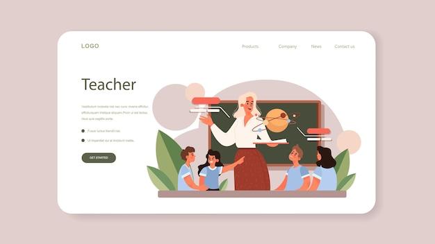 Banner web para profesores o página de destino. profesor dando una lección en un aula.