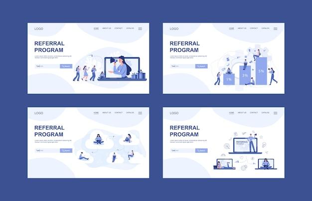 Banner web del programa de recomendación o página de inicio et. personas que trabajan en marketing de referencia. asociación comercial, estrategia y desarrollo de programas de referencia.