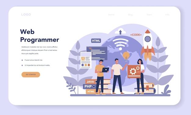 Banner web de programación web o página de destino. programa de codificación, prueba y redacción para sitio web, utilizando internet y diferentes software. desarrollo de sitios web .