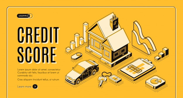 Banner de web de promo de vector de crédito de consumo de banco isométrica