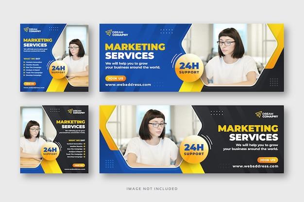 Banner web de publicación de redes sociales corporativas con portada de facebook