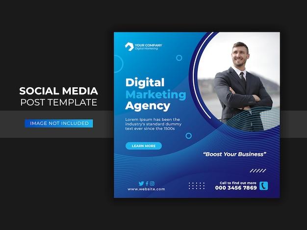 Banner web y publicación en redes sociales de marketing de negocios digitales