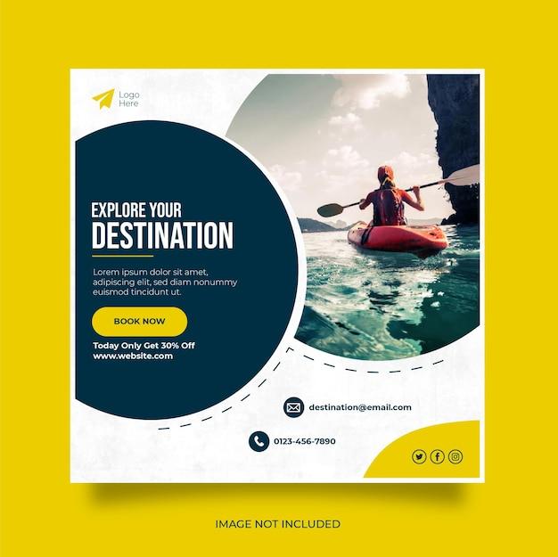 Banner de web de publicación de redes sociales de vacaciones de viajes