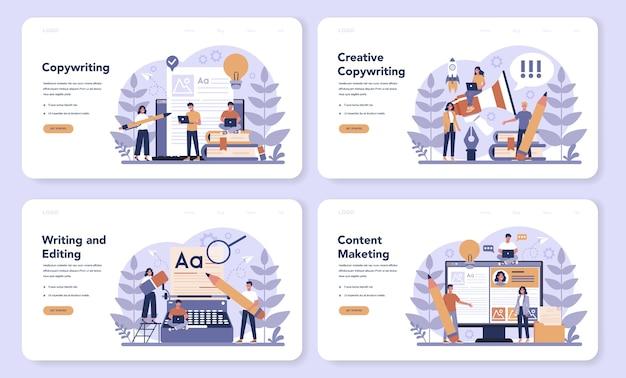 Banner web de redactor publicitario o conjunto de página de destino. idea de redacción de textos, creatividad y promoción. hacer contenido valioso y trabajar como autónomo.